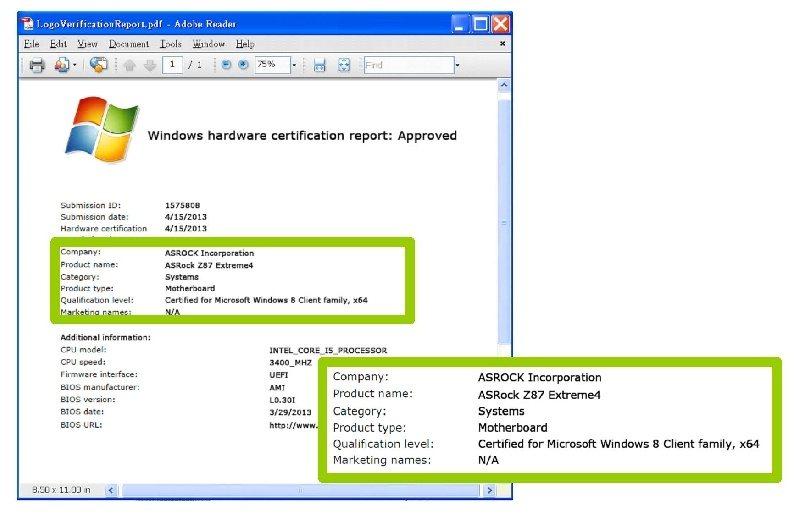 ASRock, el primero del mundo en ser aprobado por  Windows 8 para la placa madre de la Serie Intel 8