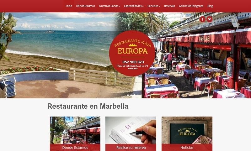 Restaurante Playa Europa, evoluciona con un nuevo dise�o de su web
