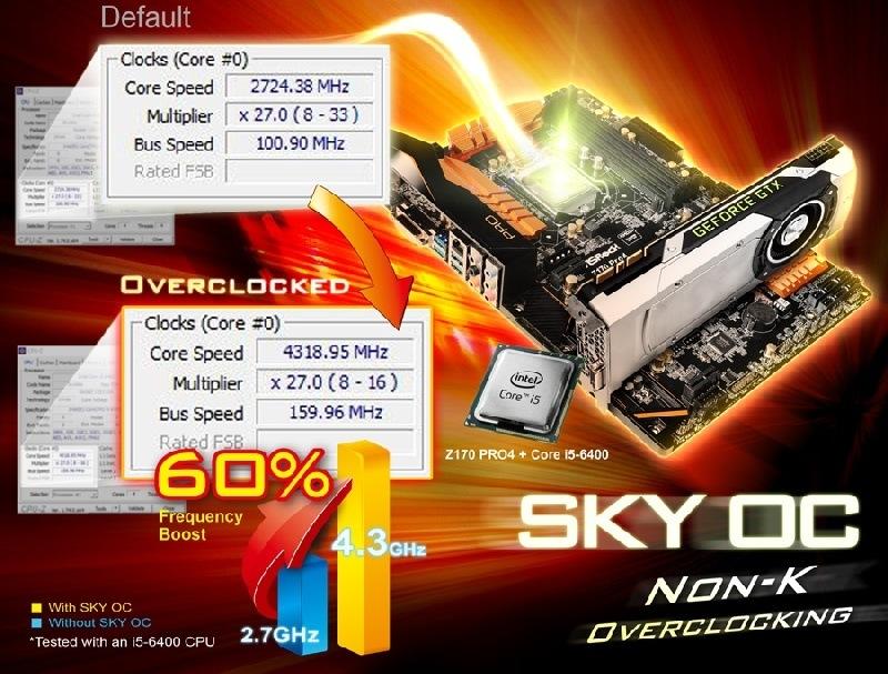 La tecnolog�a SKY OC de ASRock permite realizar Overclock en todos los procesadores Skylake