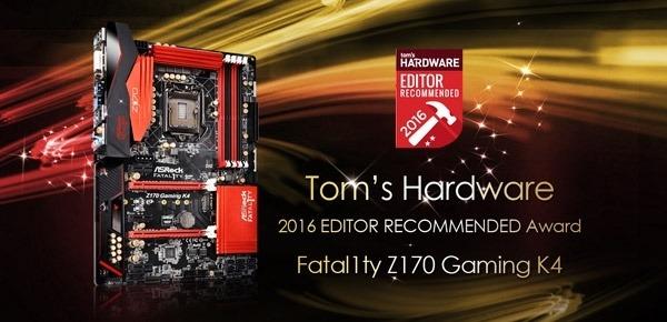 El motherboard Z170 Gaming K4 de ASRock obtuvo el premio de Tom's Hardware