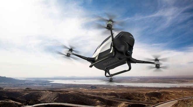 Primer Drone con un pasajero comienza a realizar pruebas
