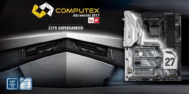 El motherboard ASRock Z270 SuperCarrier obtuvo el premio COMPUTEX d&i Award 2017